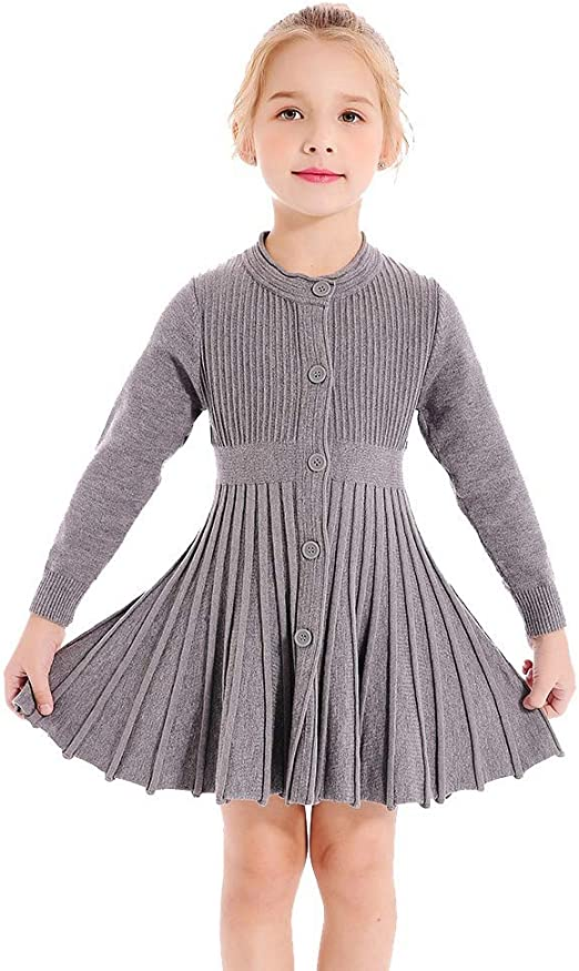 BriskyM Toddler Baby Girls Sweater Dress Long Sleeve Round Neck Love Heart Valentines Day Pullover Pleated Jumper Outfits