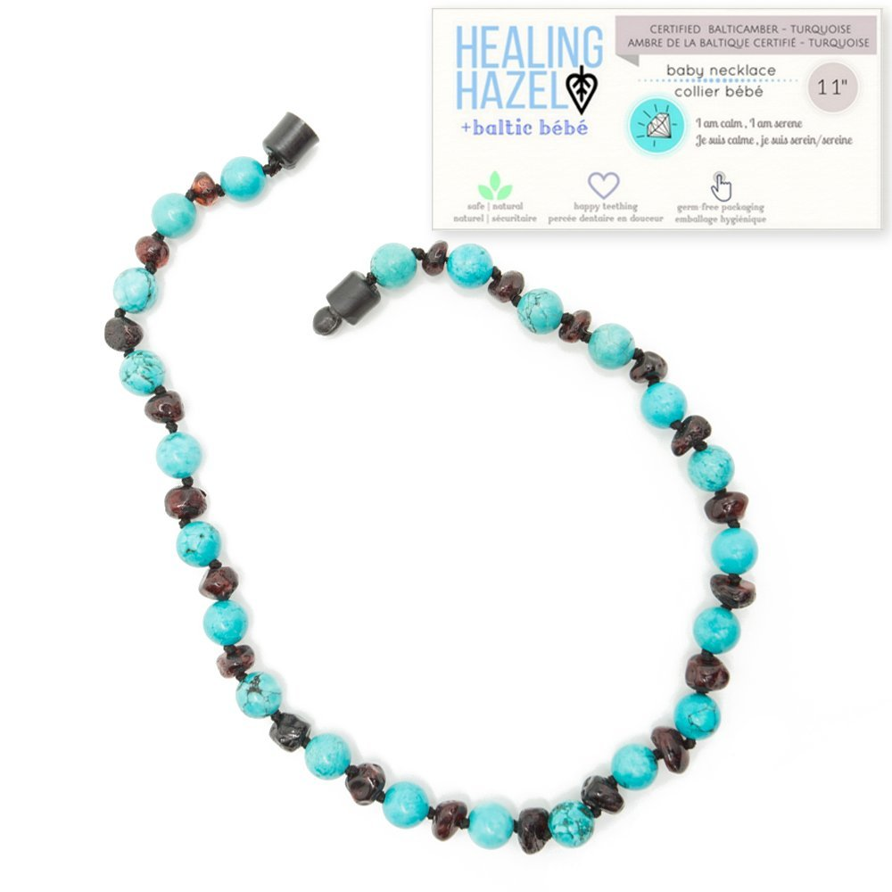 Healing Hazel + baltic bébé – 100% Certified Balticamber Pop Clasp Baby Necklace with Gemstones, Turquoise, 11 inches (reduce drooling & teething pain)