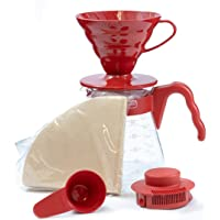 Hario V60 Pour Over Starter Set with Dripper, Glass Server Scoop and Filters, Size 02, Red