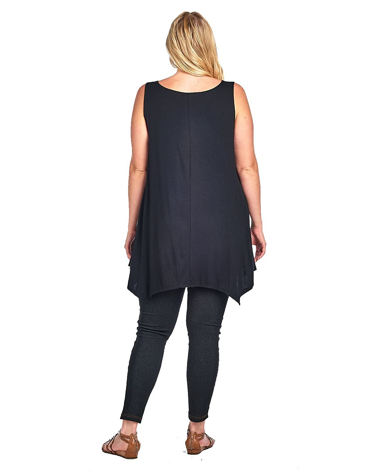 c45be36ba8a Amazon.com  Plus Size Curvy Womens Casual High Low Tank Top MADE IN USA  1X