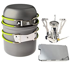 Camping Stoves, Petforu Outdoor Camping Hiking Backpacking Picnic Cookware Cooking Tool Set Pot Pan & Piezo Ignition Canister Stove & Aluminum Portable Foldable Stove Cooker Windscreen