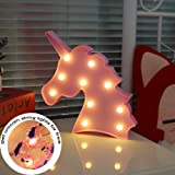 LED Night Light Lamp Kids Marquee Letter Lights Unicorn shape Signs Light Up Christmas Party Wall Decoration Battery Operated (pink)