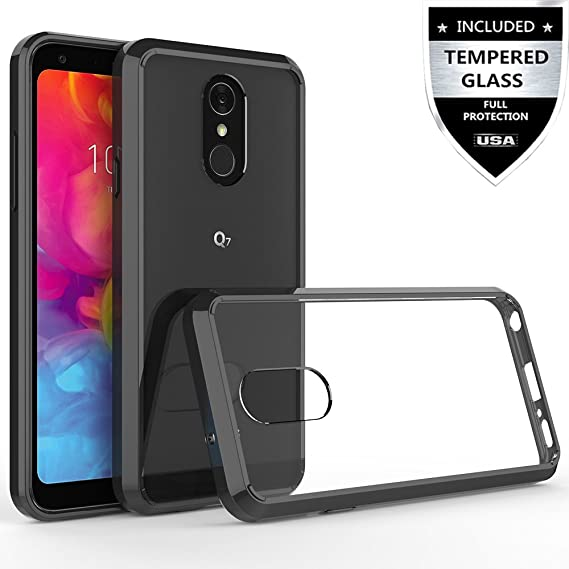 wholesale dealer 123a7 9e516 LG Q7 Case, LG Q7 Plus Case with Tempered Glass Screen Protector,IDEA LINE  Hybrid Bumper Premium Slim Fit Transparent for LG Q7+ - Black