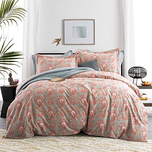 (King Duvet Cover Set-Bohemian Luxury Farmhouse Damask Shabby Floral king-Size Duvet Cover Set -Paisley King Size 3 Piece Bedding-Egyption Cotton Percale Weave Bedding Set(King,Rust Paisley))