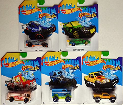 Hot Wheels Color Shifters - Set of 5 Cars - Mega-Duty, HWTF Loop Car, Monster Dairy Delivery, Fire-Eater, and HWTF Buggy