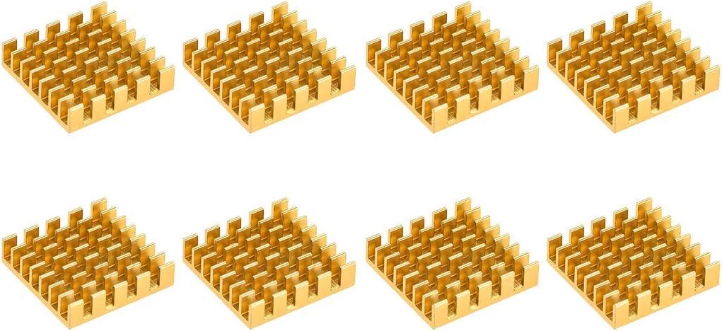 uxcell Cross Shaped Notch Heatsink for MOS GPU IC Chip Golden 22 x 22 x 6 mm 8pcs