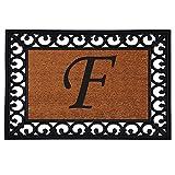 "Home & More 180041925F Inserted Doormat, 19"" X 25"" x 0.60"", Monogrammed Letter F, Natural/Black"