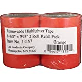 "Lee Removable Highlighter Tape, 1-7/8"" Wide x 393"" Long, 2-Roll Refill Pack, Orange (13157)"