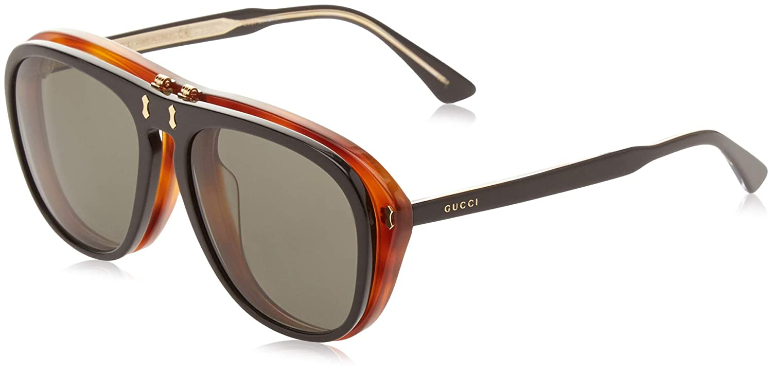 Amazon.com: Sunglasses Gucci GG 0087 S- 003 BLACK/GREY: Clothing