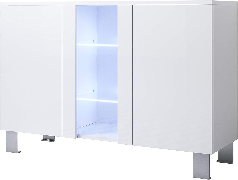muebles bonitos Aparador Modelo Luke A1 (120x82cm) Color Negro con Patas de Aluminio: Amazon.es: Hogar