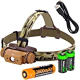 Fenix HL60R 950 Lumen USB rechargeable CREE LED Headlamp (Desert Yellow), Fenix 18650 rechargeable Li-ion battery with 2 X EdisonBright CR123A back-up batteries bundle