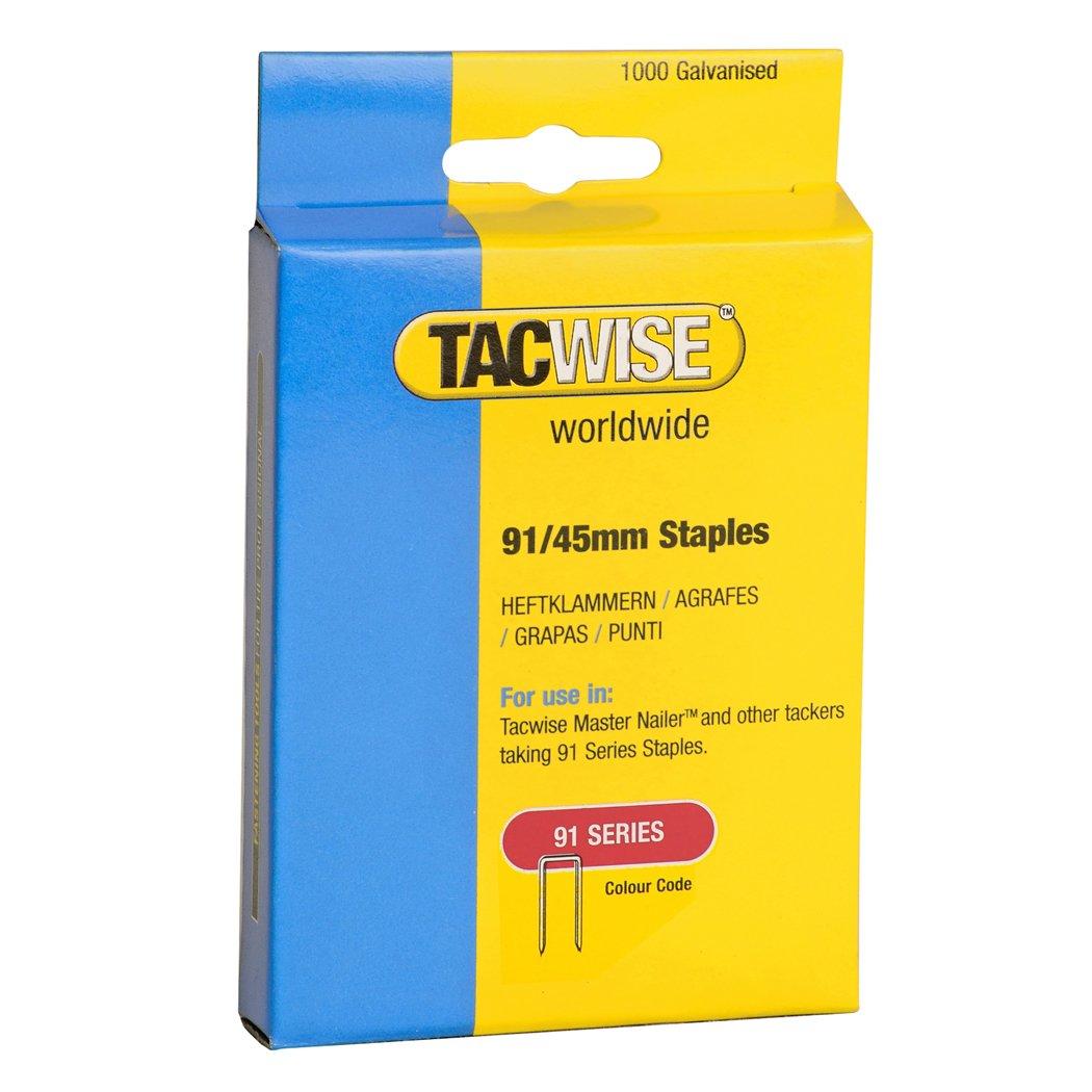 Tacwise 1174 Grapas de corona estrecha de tipo 91//45 mm 45mm Set de 1000 Piezas