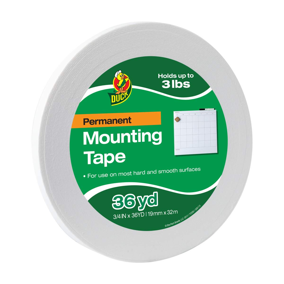 Duck Brand Permanent Foam Mounting Tape, Double-Sided, 0.75-Inch x 36 Yards, Single Roll, White (1289275) by Duck