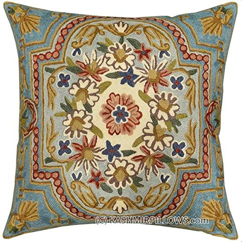 Kashmir Designs Floral Garden Turquoise Ivory Pillow Cover Hand Embroidered 18