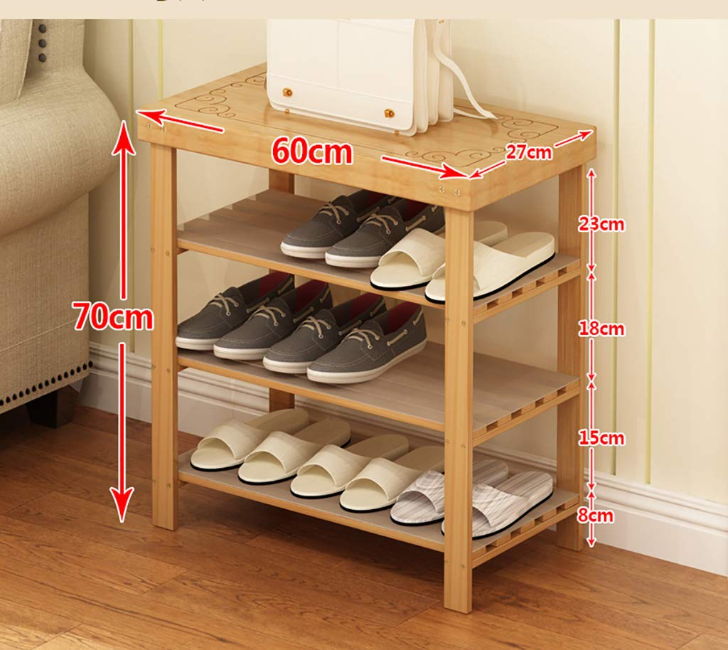 602770cm shoes Bench Organizing Rack shoes Rack Solid Wood Multi-Layer Simple Household Bamboo Door Storage shoes Shelf (Size   50  27  70cm)