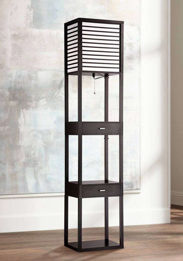 Tamber Etagere Floor Lamp with Shelf and Drawers - - Amazon.com
