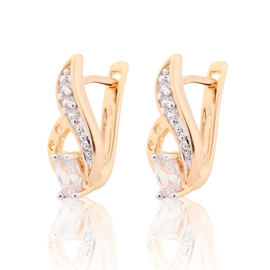GULICX CZ Gold Tone Leaf Oval Vintage Style Prong Pierced Huggie Earrings Clear