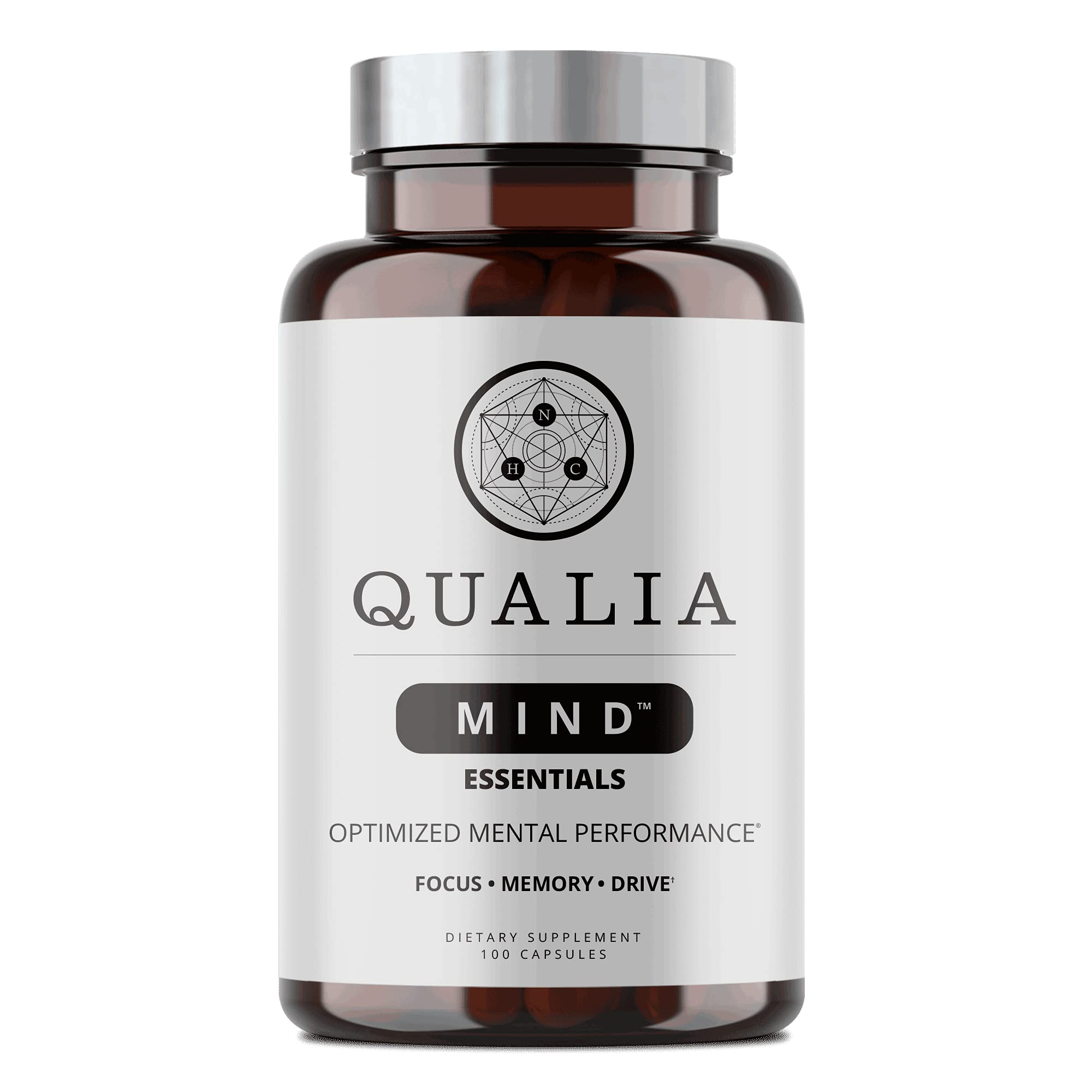Qualia Mind Essentials Nootropics 100ct   The Brain Supplement for Focus, Supporting Memory, Mental Clarity, Energy, Reasoning, and Concentration with Ginkgo biloba, Bacopa monnieri, Celastrus