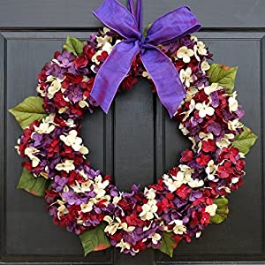 Marbled Hydrangea Summer Fall Wreath for Front Door Decor; Burgundy Red, Cream & Purple; Small - Extra Large Sizes 37