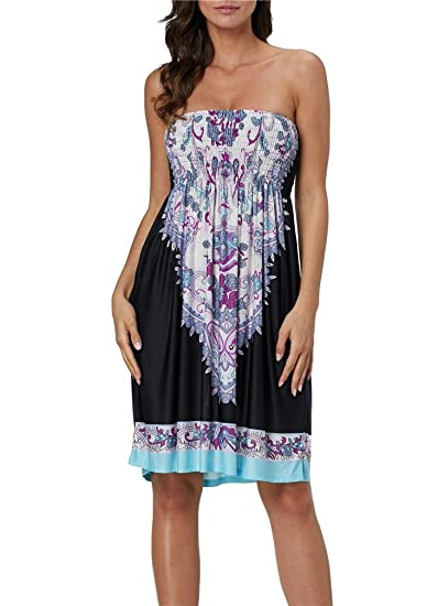 70fdf6f9ea LeaLac Women Swimsuit Cover up Strapless Ethnic Boho Bandeau Beach Sun Dress  Bathing Suit L280-