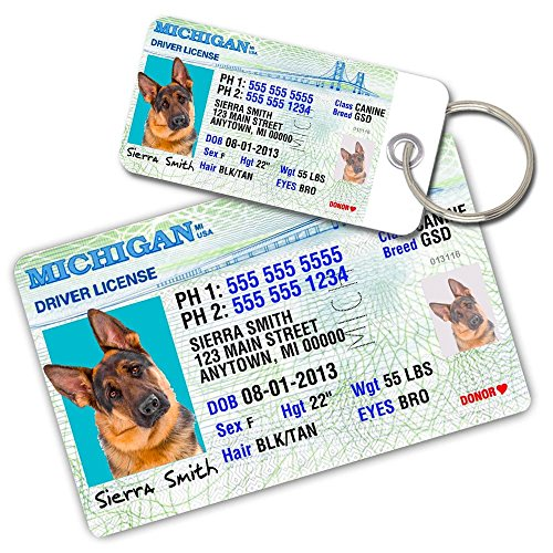 License Pet Tag - Michigan Driver License Custom Dog Tags for Pets (2) and Wallet Card - Personalized Pet ID Tags - Dog Tags For Dogs - Dog ID Tag - Personalized Dog ID Tags - Cat ID Tags - Pet ID Tags For Cats