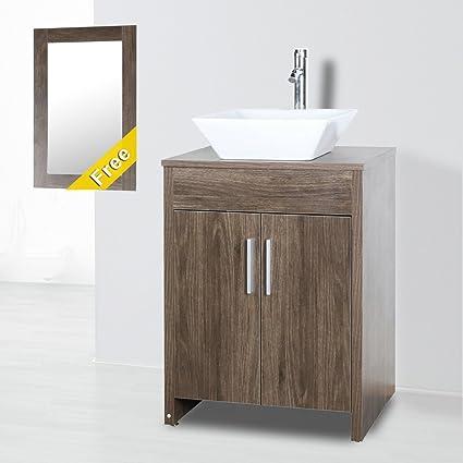 Mfyo Brown 24 Mdf Bathroom Vanity Cabinet Wood Countertop Ceramic