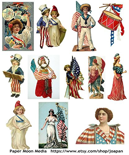 4th of July Vintage Patriotic Images Collage Sheet Collection Print for Scrapbooking, Card Making, ()