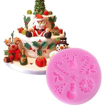 Biniwa – 1 molde de silicona para fondant de Navidad 3D, para decorar hornear,