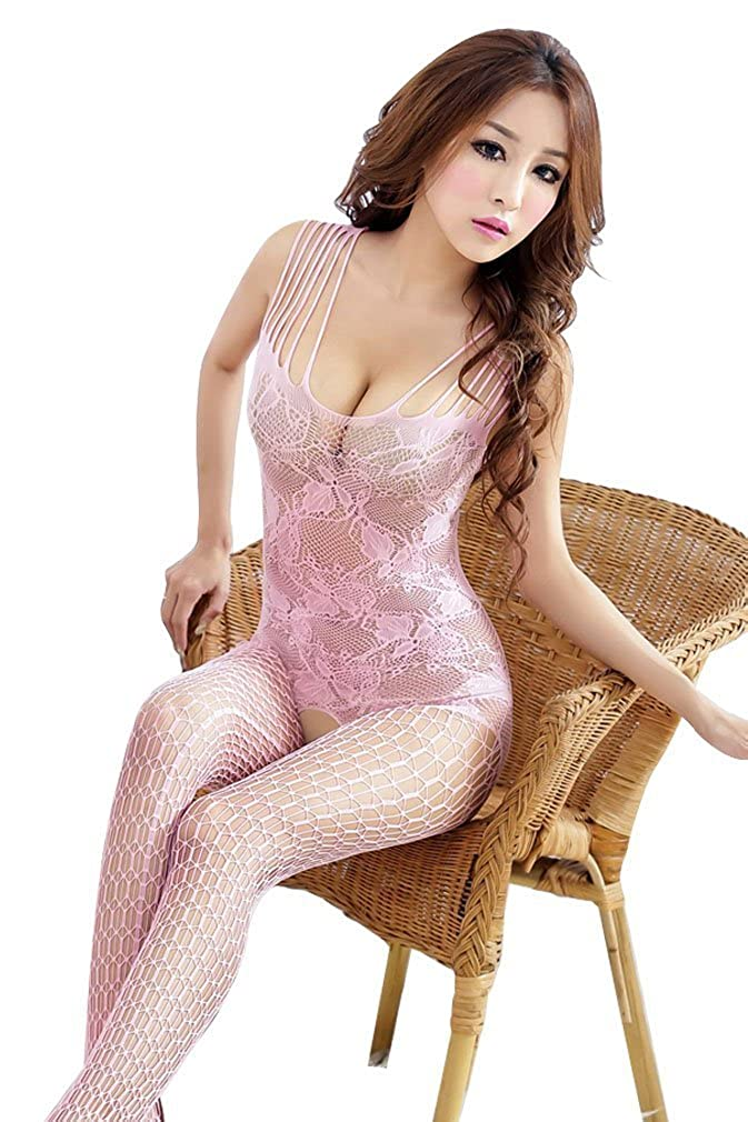 Amour - Women's Industrial Net Crotchless Bodystocking MM015bl-CA-FBA