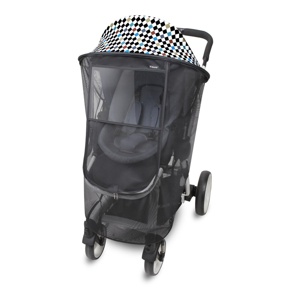 [Manito] Magicshade Scandi/ Sunshade + Mosquito Net for Baby stroller, Pushchair, and Car Seat, Wide Sunblock, UV Cut, Universal and easy installing (dot_black) Totalkids
