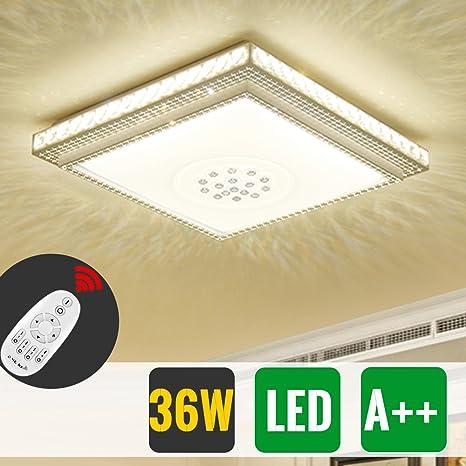 HG® Diseño Notable LED Lámpara de techo redondo cristal deckenleuchte Salón Star Light de efecto (Cuadrada 36W Regulable)