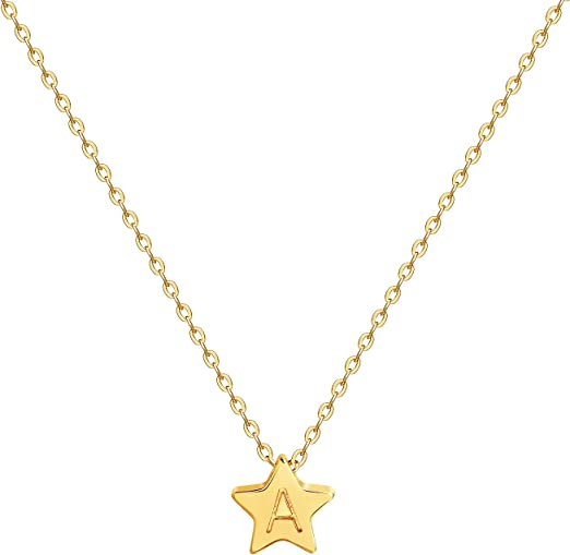 Sterling Silver Star Necklace with Letter Engraved ID Initial Women or Girls