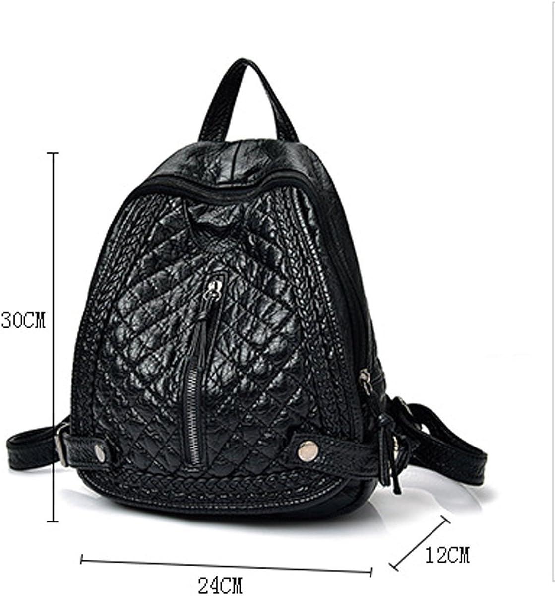 Woman Washing Backpack Fashion Rivets School Bags Travel Bag Large Capacity Black Bag