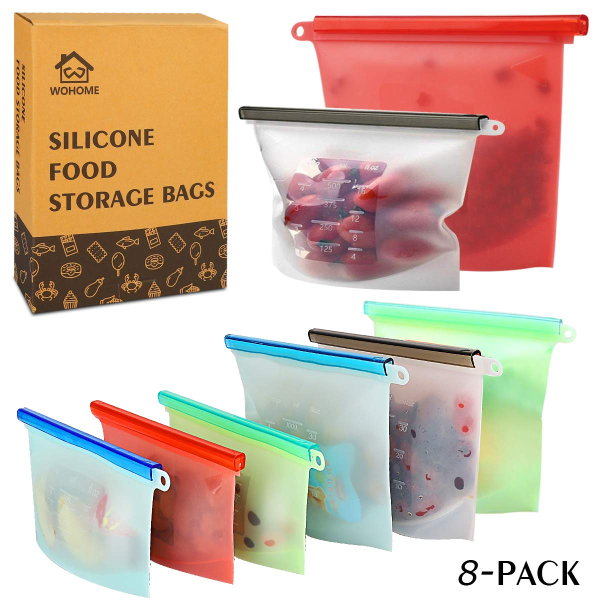 Reusable Silicone Food Storage Bags,WOHOME Freezer Airtight Seal Food Preservation Bags,Food Grade,Versatile Preservation Bag Container for Vegetable,Meat,Fruit,4 Pack Medium 30oz,4 Pack Small 15oz