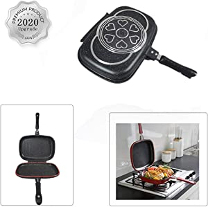 WAQIA Longma Double-sided Portable BBQ Grill Pan Nonstick Aluminum Alloy Double Omelette Square Pan Flip Pan Jumbo Grill Cookware for Indoor Outdoor Camping Cooked Fish Chicken