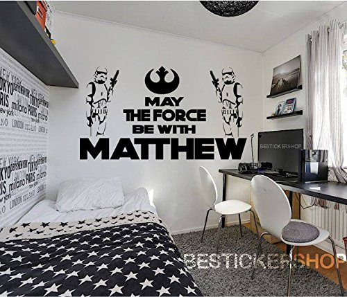 Star Wars Wall Decal Star Wars Decals The Force Decals Jedi Master Decals 3D Looking Decals Personalized Name Costum Name Decals 3D Decals s14 -