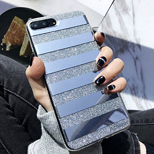 Glitter Powder Phone Case Mirror Reflex Striped Stars Pattern Back Cover for iphone 7 Plus 8 plus (Solid Tip)