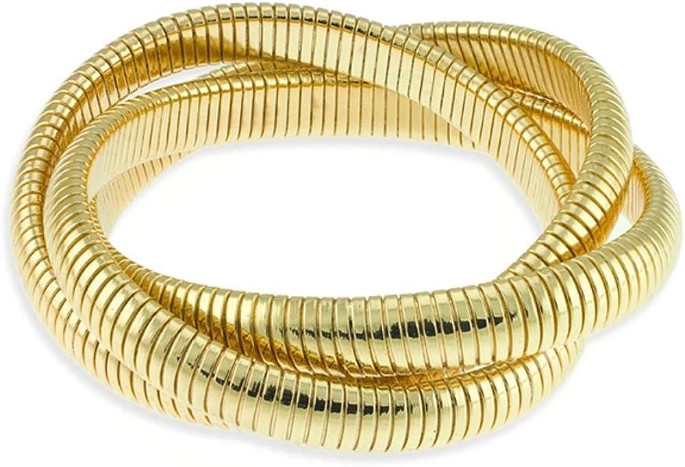 LUXENTER Pulsera Brazalete de Acero Dorado SGDY00100 de Tres Brazos semirrígido Flexible