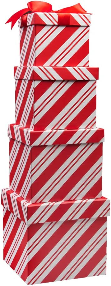 4 Christmas Gift Boxes Candy Cane Christmas Nesting Boxes with Lids in 4 Assorted Sizes for Holiday Decorative Wrapping