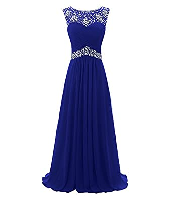 macria Beaded Long Prom Dress Floor Length Evening Gown Size 4 Royalblue