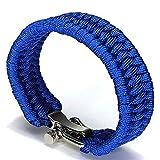 Survival Paracord Bracelet, TRENDINAO New Survival Rope Paracord Bracelet Outdoor Camping Hiking Steel Shackle Buckle (Blue)