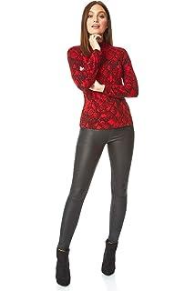 Ladies Women Roman Originals Animal Print Twist Front Knit 3//4 Sleeve Top
