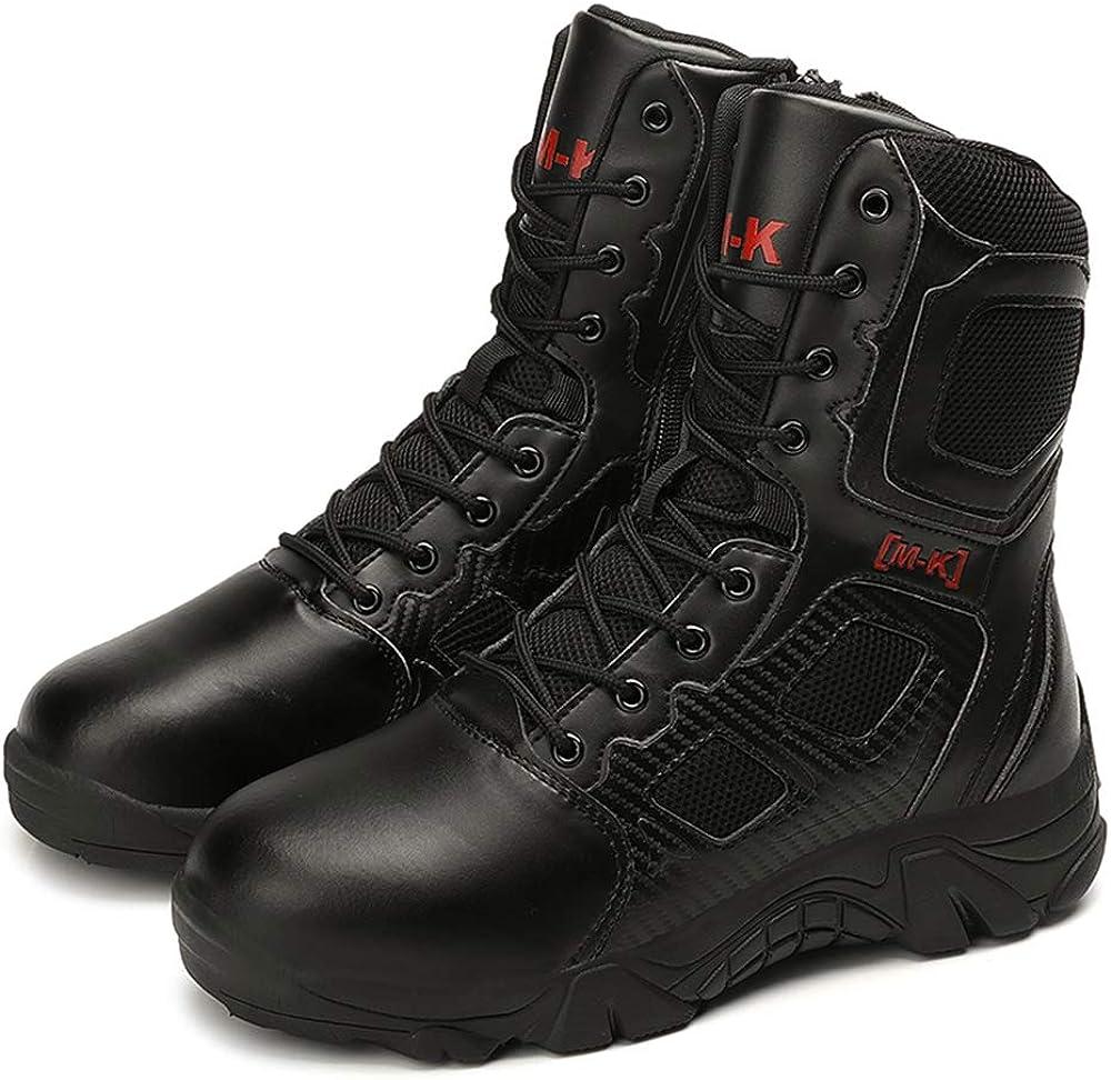 Bitiger Hombres Ejército Militar Táctico Deportes al Aire Libre Camping Senderismo Trabajo de Combate Cordones Transpirable Alto Top Cremallera Lateral Desierto Zapatos de Cuero Botas