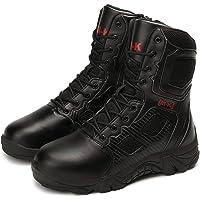 Bititger - Botas de desierto militares de piel, impermeables, con cremallera, botas tácticas y de combate para hombre…