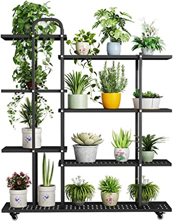 IDWOI Estantería para Plantas Soporte Macetas Soporte para Flores De Metal Balcón Vertical Escalera para Flores con Ruedas Interior Flores Estantería: Amazon.es: Hogar