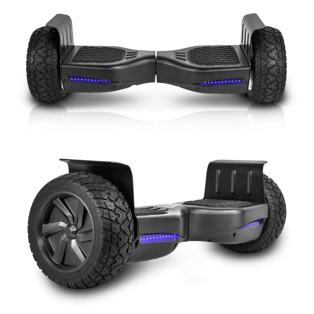 Cho All Terrain Black Rugged 8.5'' Inch Wheels Hoverboard Off-Road Smart Self Balancing Electric Scooter LED Lights UL2272 Certified (Black)