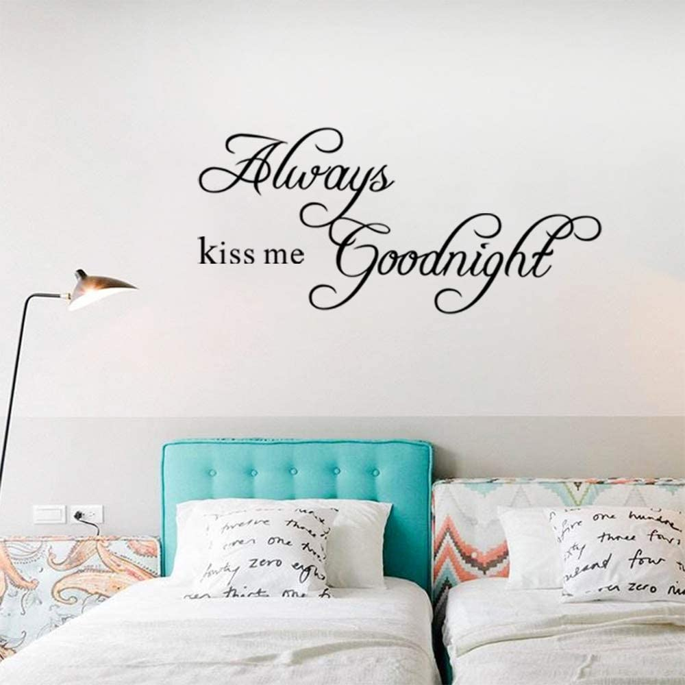 Rotumaty 'Always kiss me Goodnight' Quote Wall Decals Peel and Stick Bedroom Wall Stickers Vinyl Baby Room Decoration…