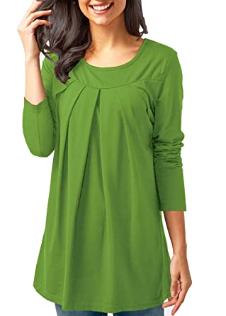 cd72f510b9c Fantastic Zone Long Sleeve Casual Pleated Tshirts for Women Baggy Tunic  Tops Crew Neck Green S