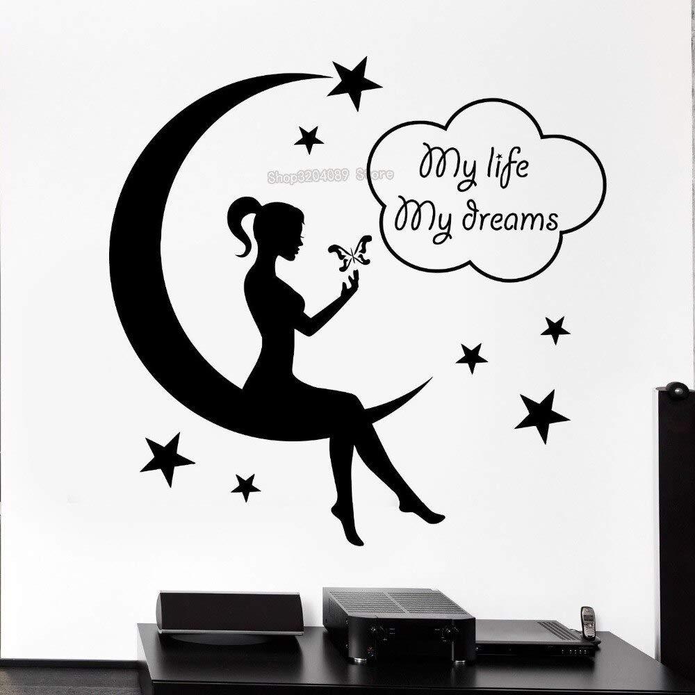 TYLPK Calcomanía de pared linda niña adolescente Fairy Moon ...