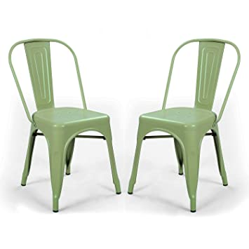 DecentHome Metal Stackable Tolix Style Dining Chairs, Set Of 2 (Green)